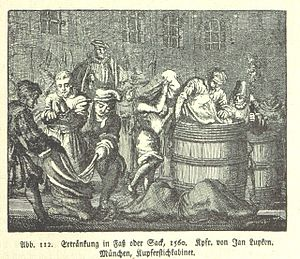 "Poena cullei - ""Ertränken im Fass oder Sack"", a 1560 sketch showing capital punishment"
