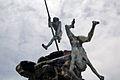 Escultura de Bentejuí y Tazarte saltando del roque de Ansite antes de ser apresados por los conquistadores..jpg