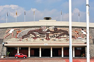 Estadio Olímpico Universitario - Main entrance and high relief of Diego Rivera