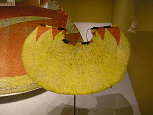 Featherwork - A Hawaiian 'ahu'ula (feathered cape).