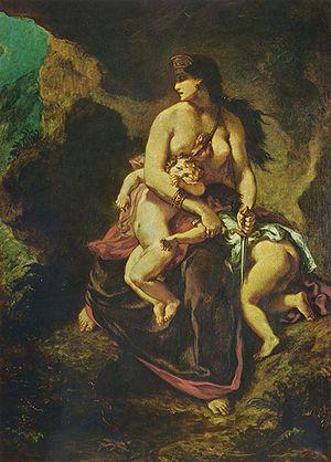 Euripides - Medea About to Murder Her Children by Eugène Ferdinand Victor Delacroix (1862)