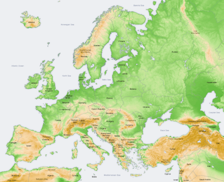 Relief map of Europe and surrounding regions Europe topography map en.png