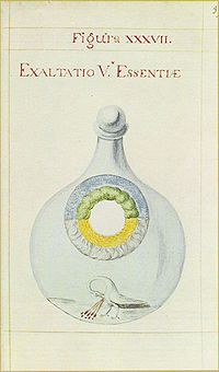 Ilustração do manuscrito De summa (séc.18). Exaltação da Quinta Essência.