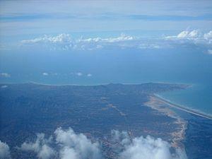 Macanao Peninsula Municipality - Aerial view of northeast Macanao Peninsula and the Laguna de la Restinga isthmus.