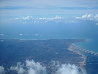 Macanao Peninsula Municipality - Aerial view of northeast Macanao Peninsula and the Laguna de la Restinga isthmus.