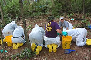 Crime scene - FBI agents collect evidence from a crime scene