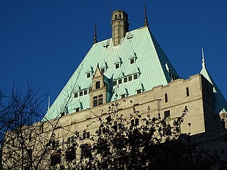 Hotel Vancouver - The chateauesque-styled Hotel Vancouver features a copper pitched roof with dormers.