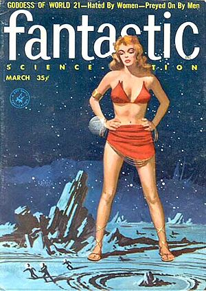 "Henry Slesar - Slesar's novella ""The Goddess of World 21"" was cover-featured on the March 1957 issue of Fantastic Science Fiction"