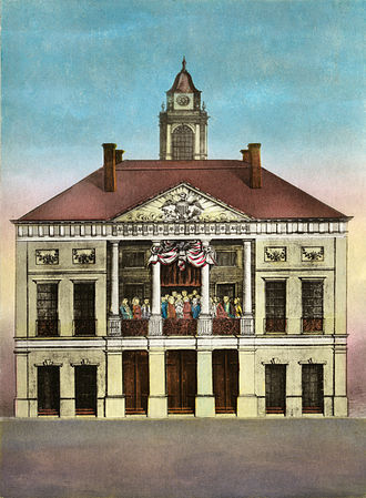 Federal Hall - Federal Hall, Seat of Congress, 1790 hand-colored engraving by Amos Doolittle, depicting Washington's April 30, 1789 inauguration
