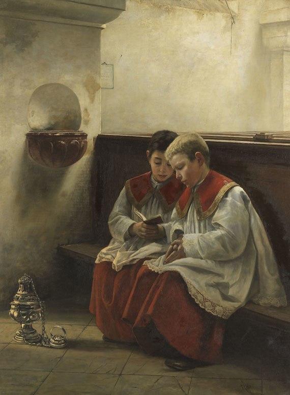 Felix Freiherr von Ende Ministranten beim Gebet