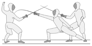 Fencing practice and techniques - The lunge position on the right, showing how much more distance can be obtained over the en garde stance