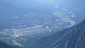Fernie, British Columbia - The city of Fernie, BC seen from Three Sisters mountain