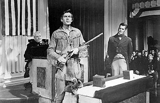 Fess Parker - Fess Parker as Davy Crockett addresses the city of Philadelphia in the Walt Disney television miniseries