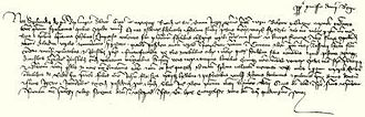 John Hunyadi - King Sigismund of Hungary's charter of the grant of Hunyad Castle (in present-day Hunedoara, Romania) to Voyk, Magos and Radol (the sons of Serbe), and their uncle or cousin, Radol, and Voyk's son, John