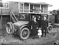 File-John Schafer -1893-1956- with wife Neta Smith Schafer and daughter Bernice beside 1922 Buick Six automobile at railroad logging (KINSEY 692).jpg