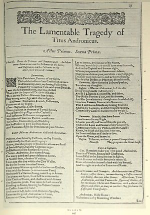 Authorship of Titus Andronicus - Facsimile of the first page of The Lamentable Tragedy of Titus Andronicus from the First Folio, published in 1623