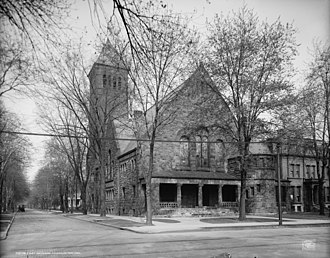 Brush Park - First Presbyterian Church (left) and First Unitarian Church, c. 1906