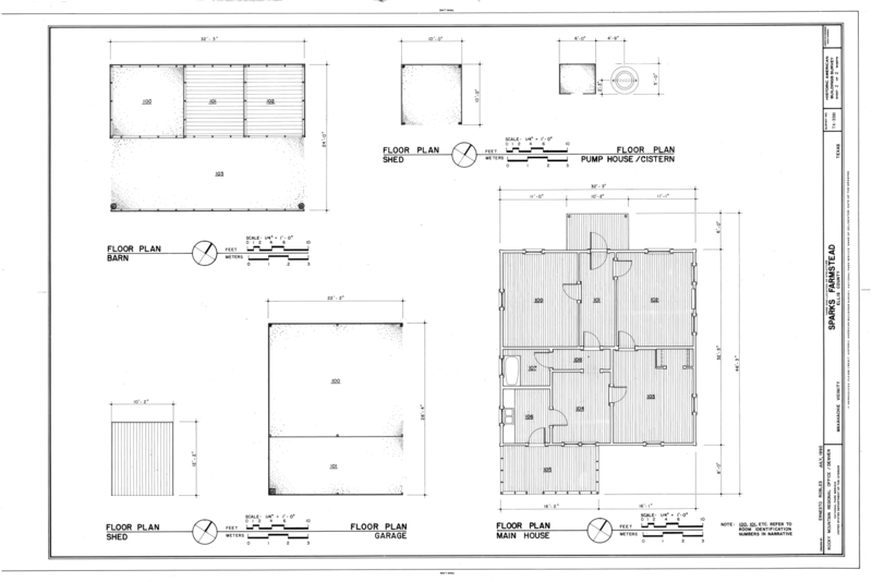 file:floor plans of barn, shed, pump house, shed, garage, and main