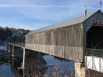 Florenceville-Bristol - The Florenceville Bridge across the Saint John River is partly covered.