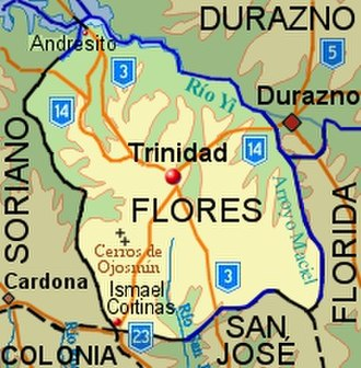 Flores Department - Topographic map of Flores Department showing main populated places and roads