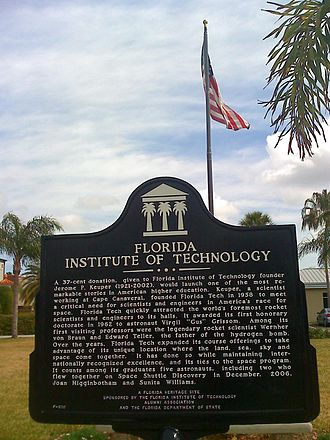 Florida Institute of Technology - Historic sign from Florida Tech Alumni Association and Florida Department of State.
