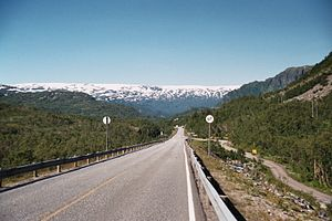 European route E134 - Folgefonna seen from E134, near Røldal