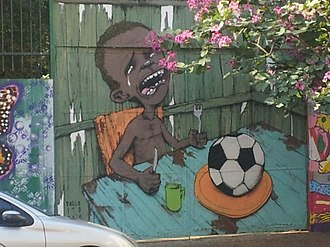 2014 protests in Brazil - Graffiti in São Paulo critical of the expenditures of the World Cup.