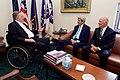Former President Bush Chats With Secretary Kerry and Former Secretary Baker in Baker's Private Office at Rice University's Baker Institute in Houston (26059964204).jpg
