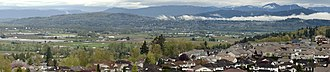 Fraser Valley - Panoramic view of the Fraser Valley as seen from eastern Abbotsford looking northwest, showing the District of Mission, which lies across the river from this viewpoint.