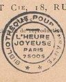 """French book stamp, """"BIBLIOTHEQUE POUR ENFANTS"""" """"L'HEURE JOYEUSE"""" """"PARIS 75005"""" detail, from- Bentzon - Yette histoire d une jeune creole (page 7 crop).jpg"""