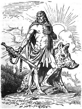 Vanir - The sun shining behind them, the god Freyr stands with his boar Gullinbursti (1901) by Johannes Gehrts.
