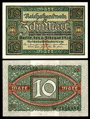 German Papiermark - Image: GER 67 Reichsbanknote 10 Mark (1920)