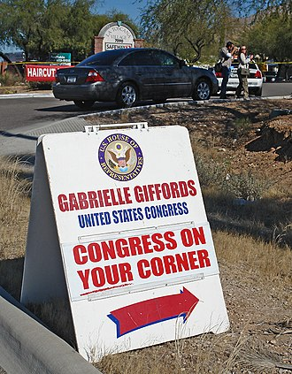"2011 Tucson shooting - Roadside sign for the ""Congress on Your Corner"" constituent meeting"