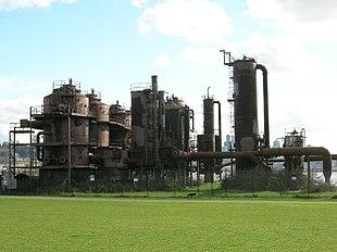 Un impianto per la produzione del gas illuminante degli Stati Uniti d'America.