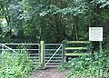 Gated entrance to footpath through private woods - geograph.org.uk - 508733.jpg