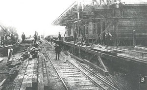 Gatley railway station - Gatley railway station, under construction in 1908