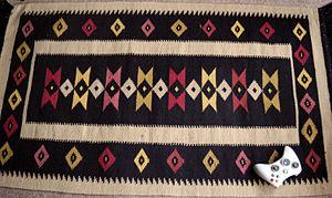 Palestinian handicrafts - Modern woolen rug from Gaza.