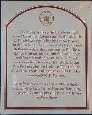 Kaiserkeller - A plaque detailing the history of the Kaiserkeller