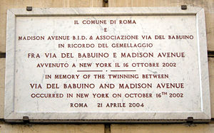 Via del Babuino - The plate remembering the twinning between Via del Babuino and Madison Avenue in New York