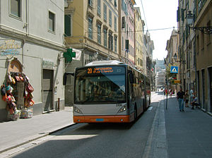Trolleybuses in Genoa - No. 2106 on Via Roma.
