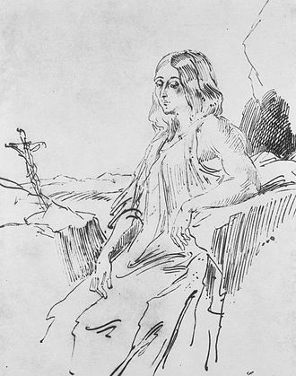George Sand - Sand as Mary Magdalene in a sketch by Louis Boulanger