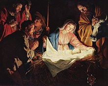 Tableau représentant des personnages regroupés autour de l'enfant Jésus et de sa mère Marie.