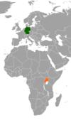 Lage von Deutschland und Uganda