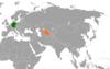 Lage von Deutschland und Usbekistan