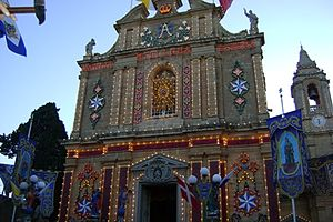 Għaxaq - Għaxaq Parish Church decorated for the main village feast dedicated to Saint Mary