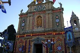 Għaxaq - Għaxaq Parish Church decorated for the main village feast dedicated to Saint Mary