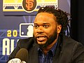 Giants pitcher Johnny Cueto talks to reporters at 2016 All-Star Game availability. (27913818734).jpg