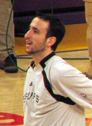 Manu Ginobili, San Antonio Spurs, warming up f...