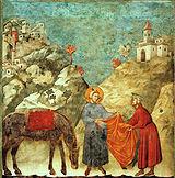"""""""São Francisco dá seu manto a um homem pobre"""", pintura de Giotto."""