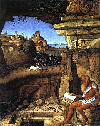 St. Jerome in the Desert, by Giovanni Bellini (1505) Giovanni Bellini St Jerome Reading in the Countryside.jpg